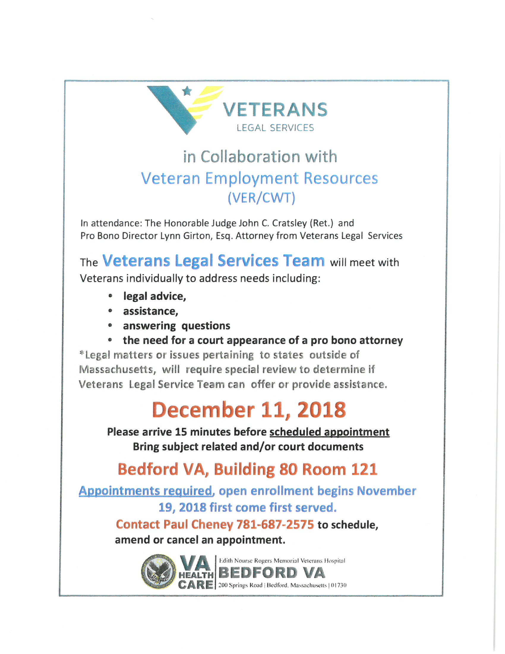 Veteran Legal Services at Bedford VA on December 11th.