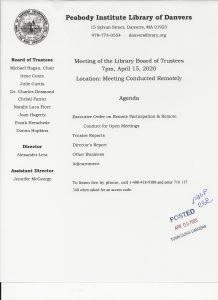 Library Board Trustee Agenda