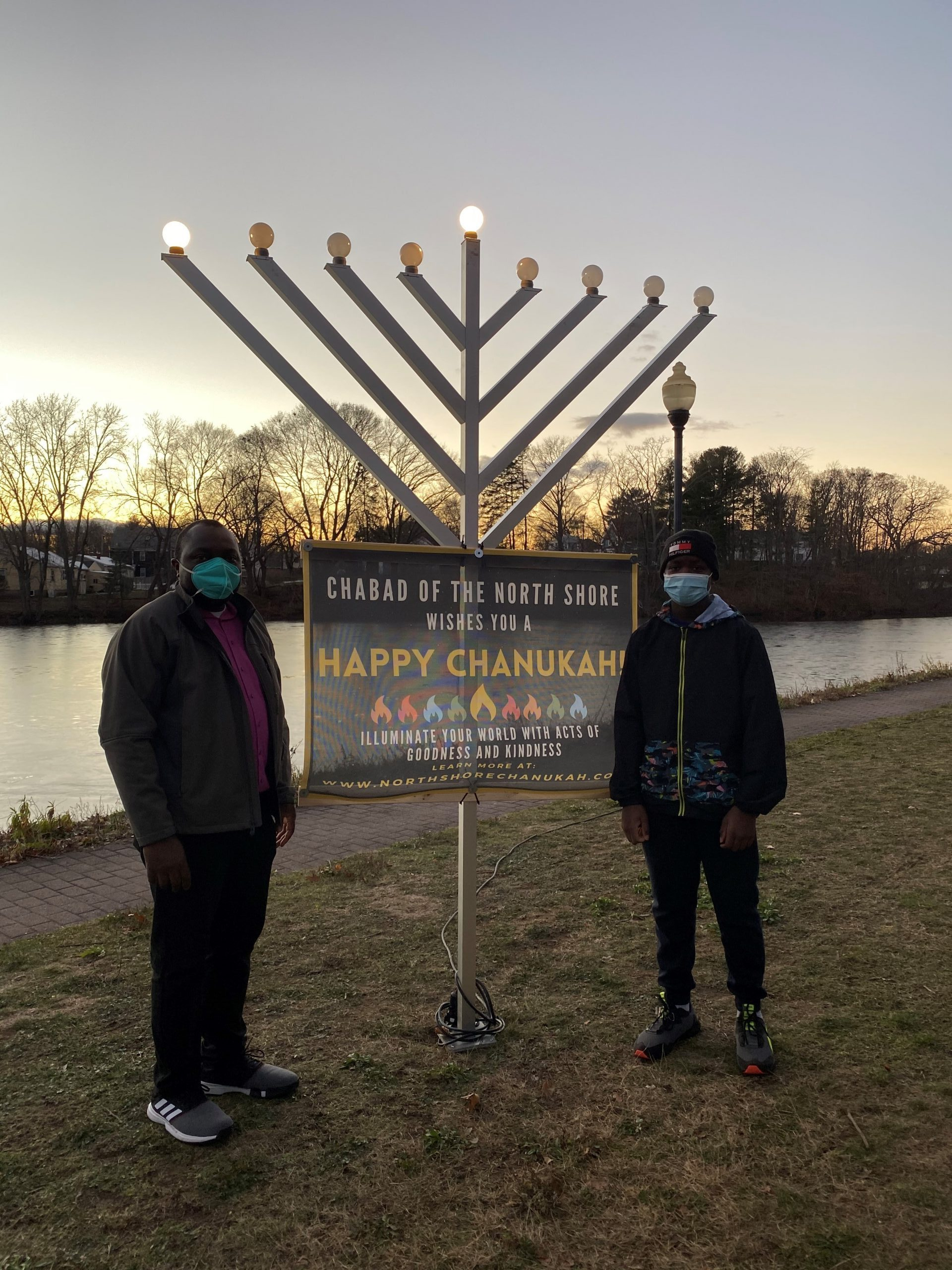 Dee and Jerry at the Menorah