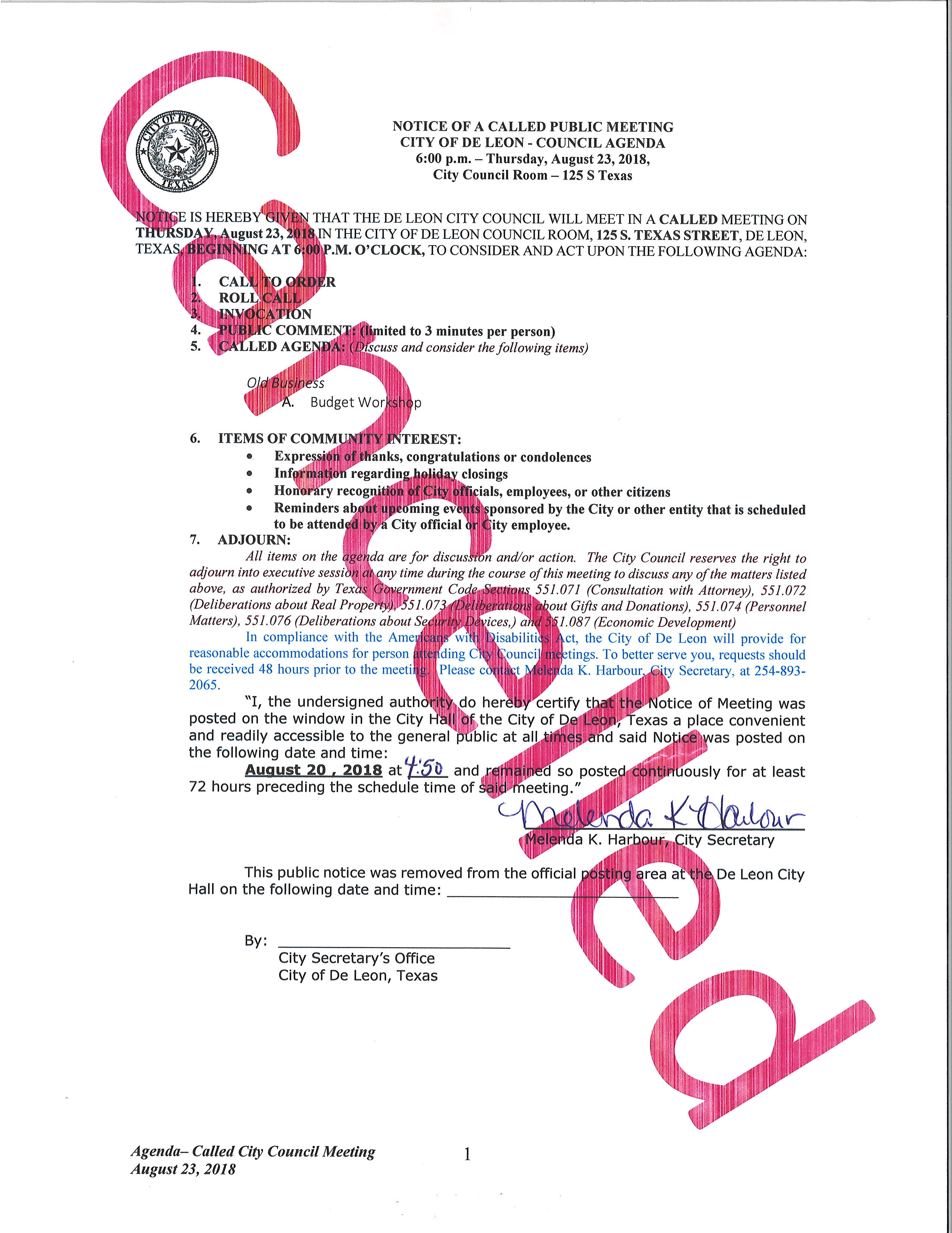 update meeting cancelled called city council meeting agenda for