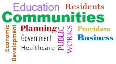Community Word Cloud - education, planning, economic development, residents, government, healthcare, public works