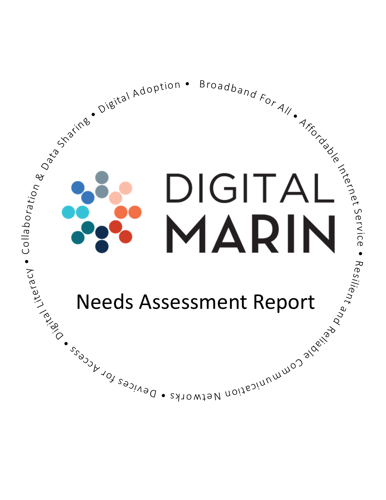 Digital Marin Logo with Needs Assessment words in a circle