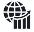 globe with chart and upward facing arrow