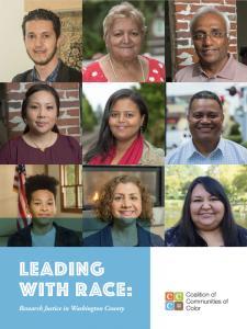 Cover page of Leading with Race report. Nine images of people's faces.