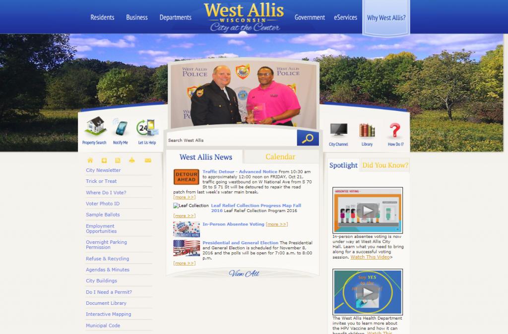 Screenshot of City of West Allis, Wisconsin website from October 2016 showing example of poor web design