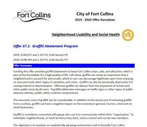 Fort Collins Budget Sample