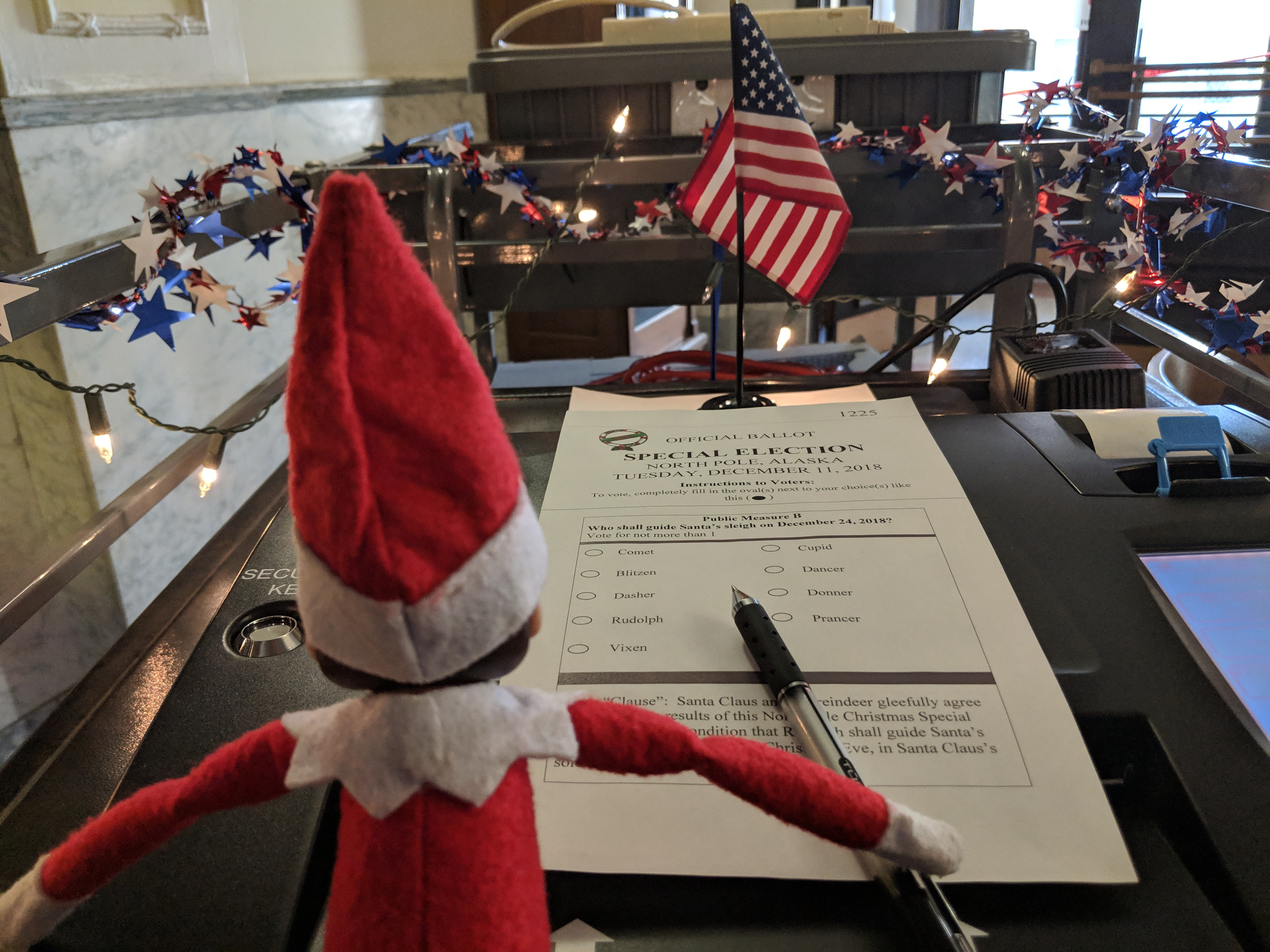 Elf on the Shelf votes in Battle Creek, Michigan