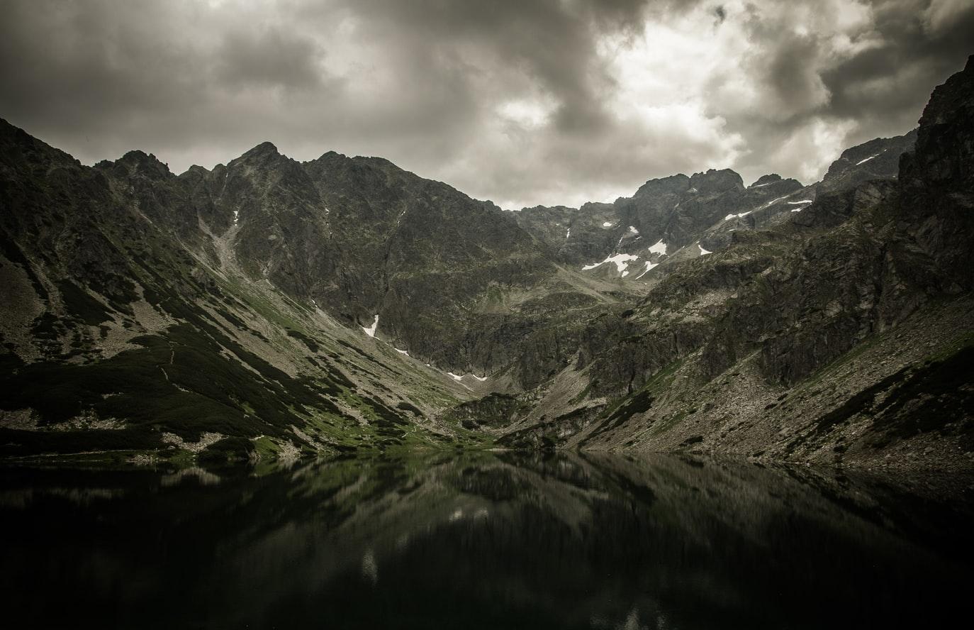 Gloomy Image of Mountain Range with peaks and valleys