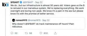 BART responds to updates about maintenance.