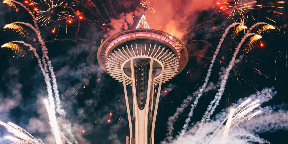 Fireworks burst around Seattle's Space Needle