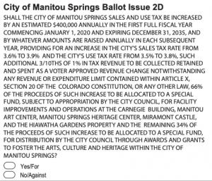 Image of Manitou Springs 2019 ballot question courtesy of El Paso County sample ballot
