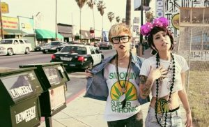 """Still image from rapper Kreayshawn's music video, """"Gucci Gucci"""" on the street"""