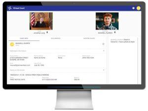 computer screen of virtual judge, defendant interaction