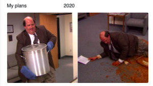 Kevin from the office spilling chili