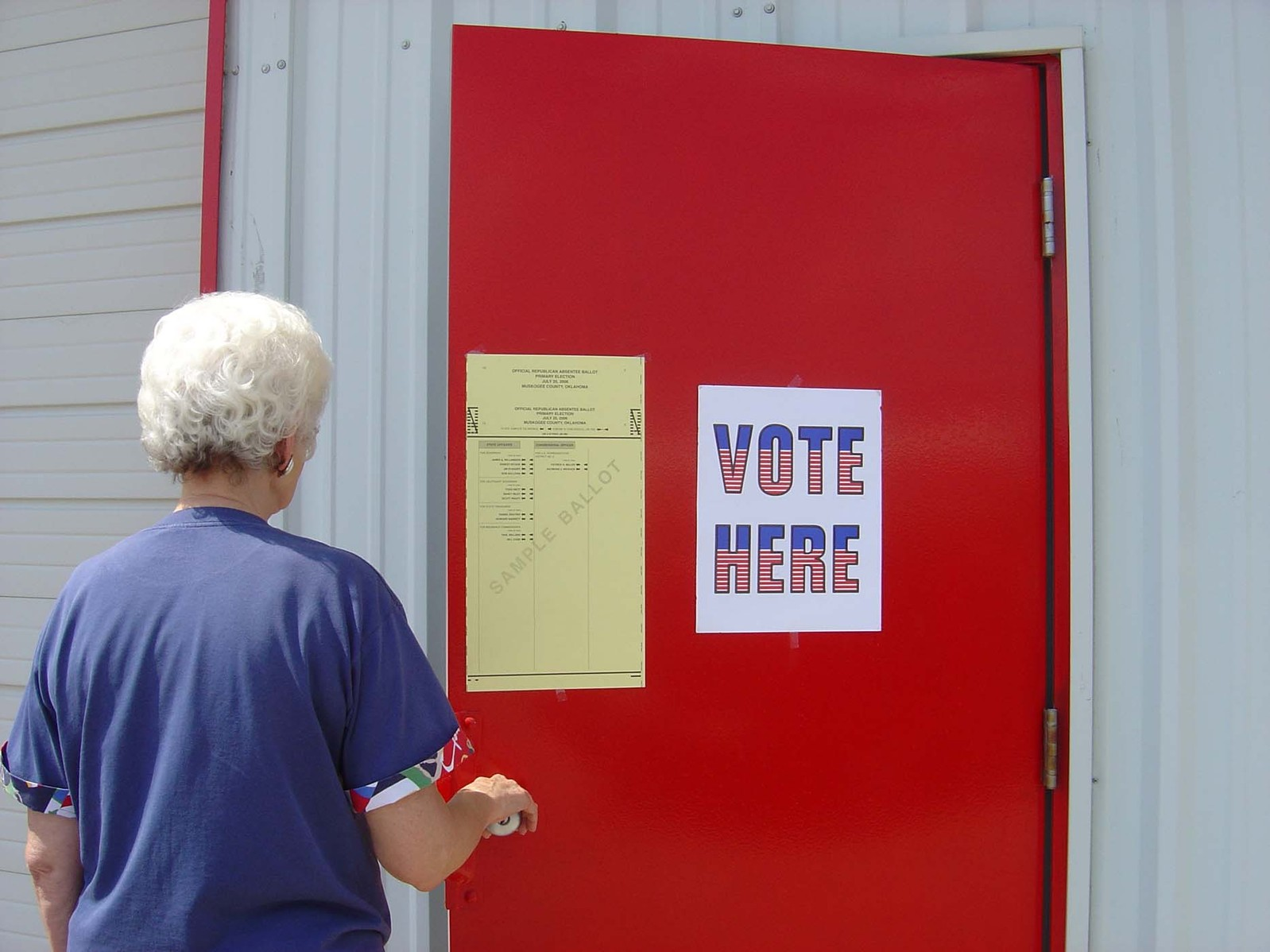 woman going into polling place