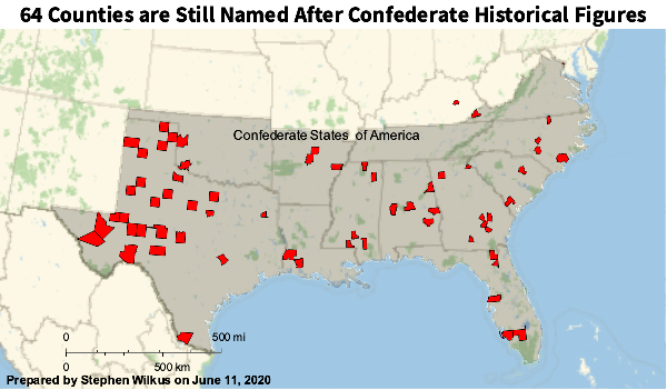 64 Counties in the US are named for Confederate figures