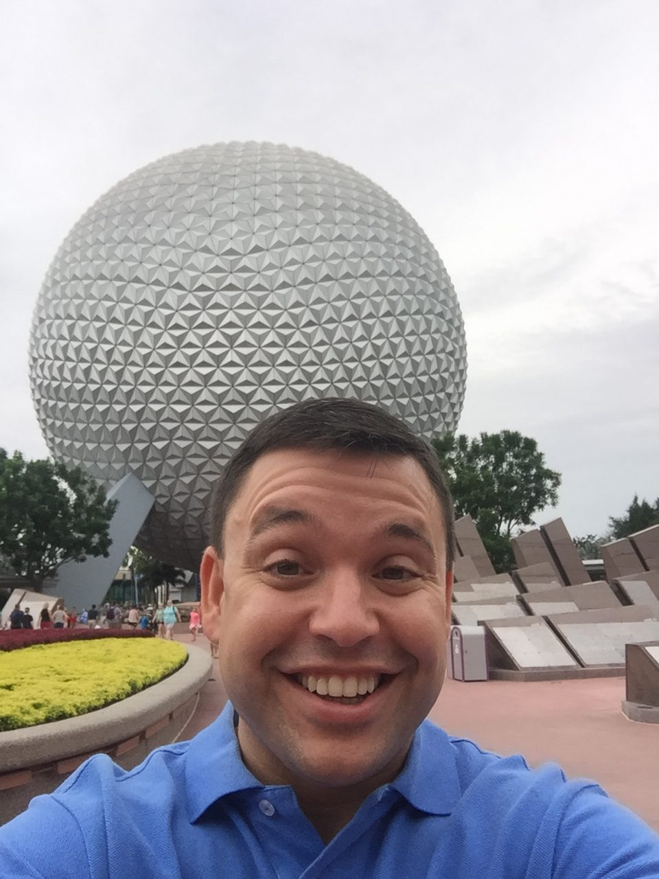 Tony Lopez in front of Epcot