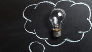 Idea bulb in thought bubble
