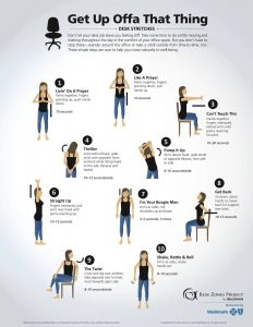 Illustrated images of a woman demonstrating easy stretches