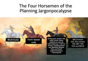 Illustration of 4 individuals on 4 horses, each representing a piece of jargon used in the Planning field