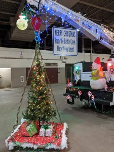 Christmas tree and water truck