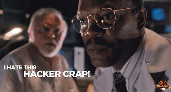 Samuel L Jackson battles a hacker in Jurassic Park