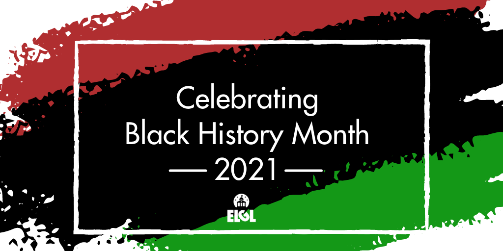 Image with green, black, and red that reads Celebrating Black History Month