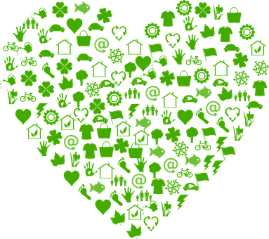 Green heart with sustainability actions inside