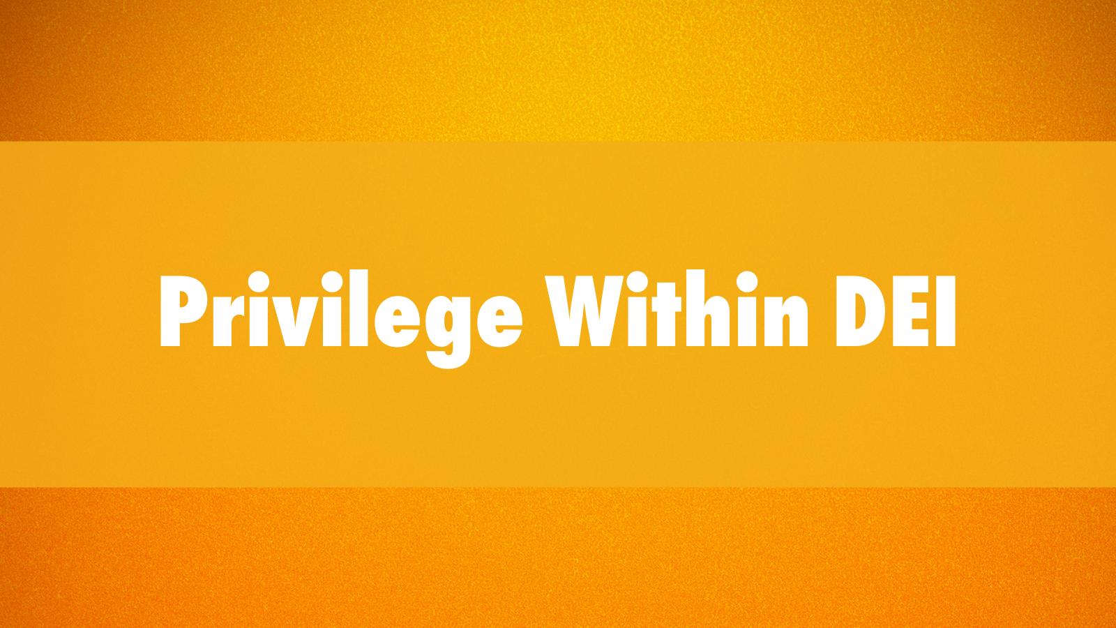 Privilege within DEI