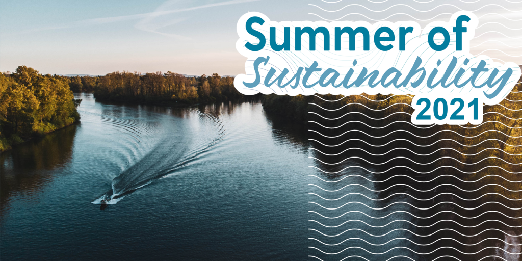 The Willamette river with a boat and the summer of sustainability logo