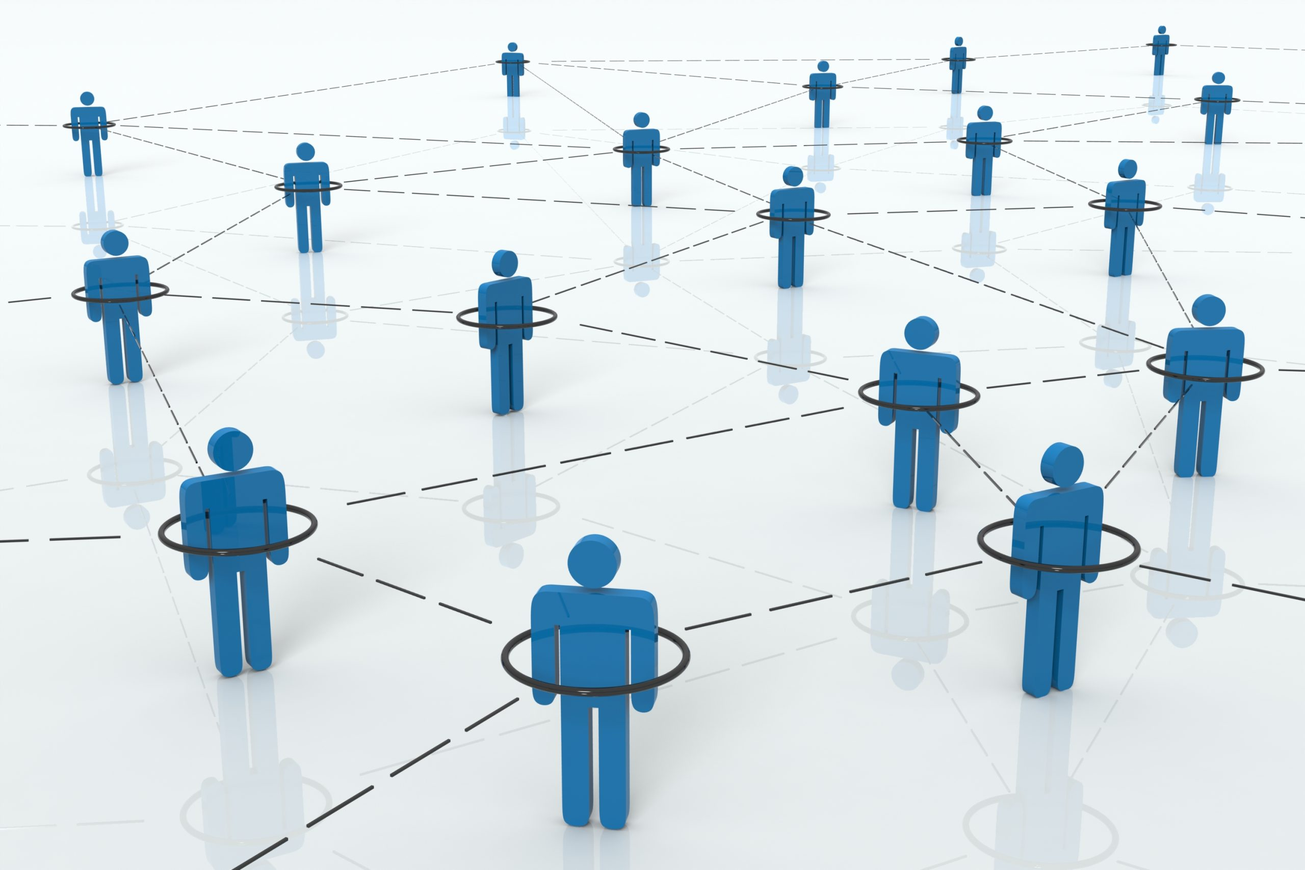 Networking: Blue People connected by dashes