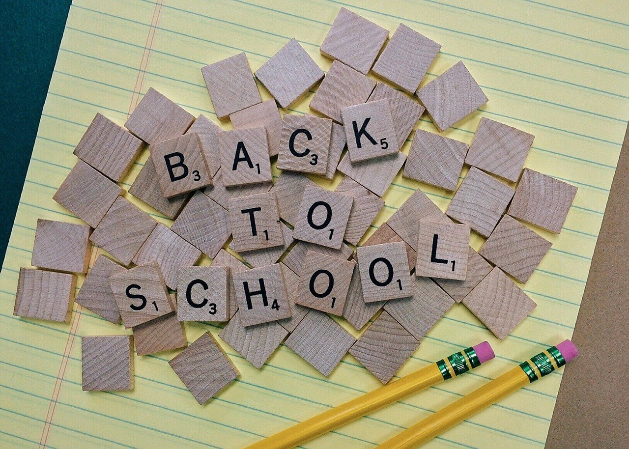 """Scrabble tiles that say """"back to school"""""""