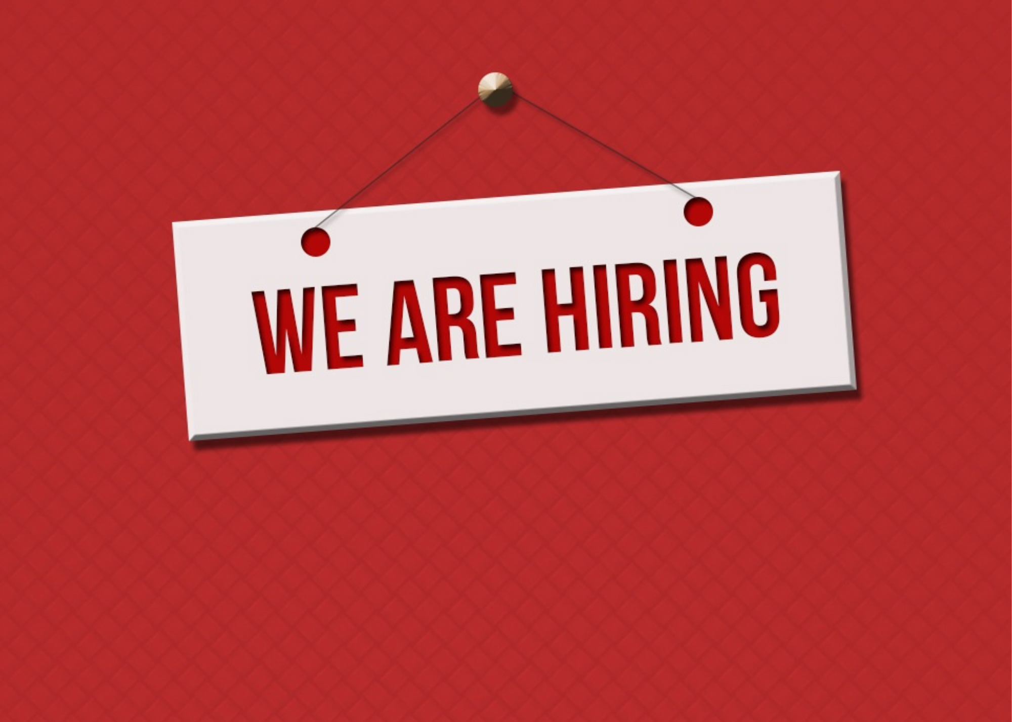 we are hiring text over red background