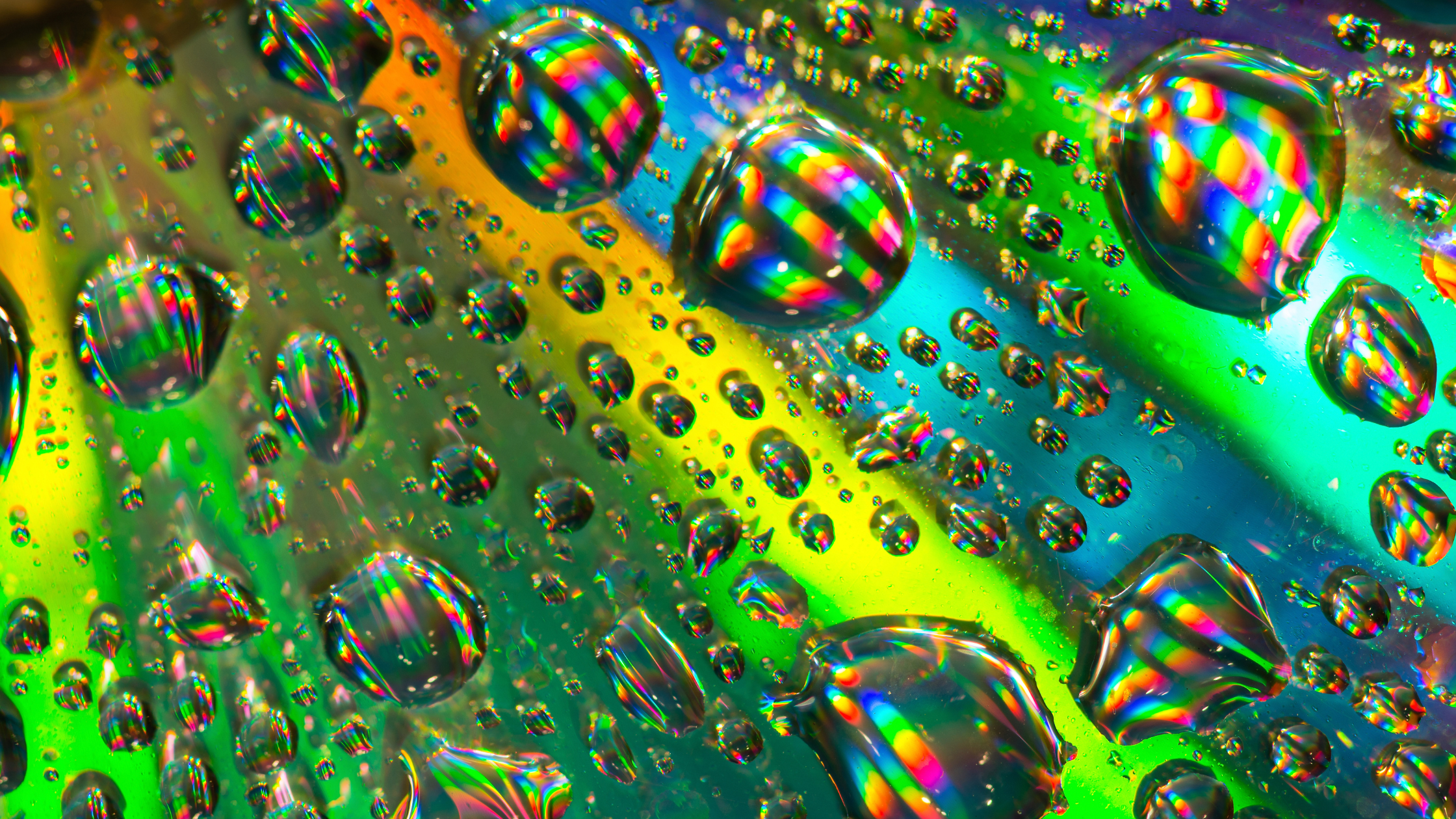 water droplets on rainbow