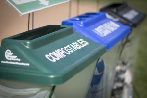 compost and recycling bins
