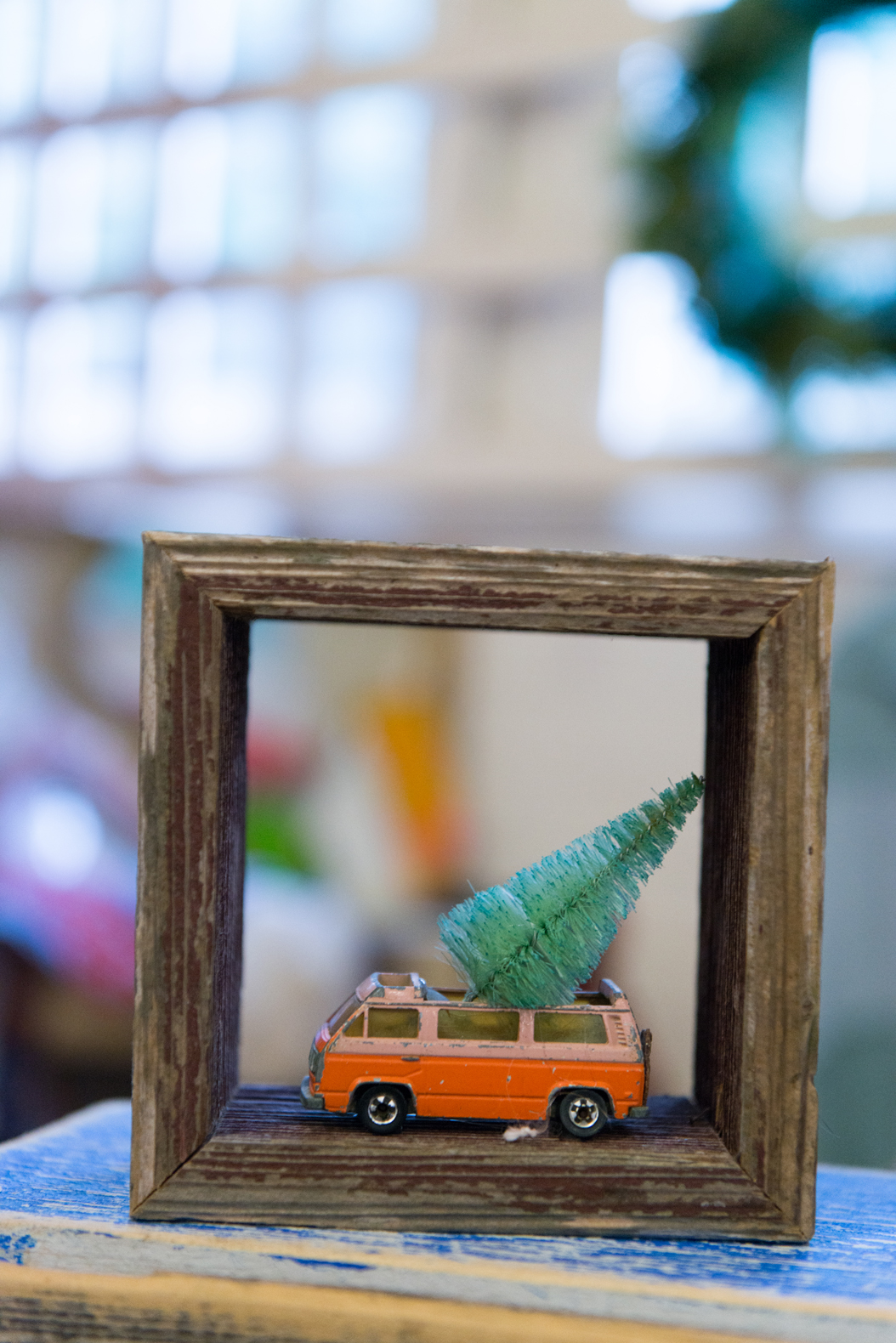Toy car with a Christmas tree