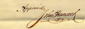 Gov. John Hancock's Signature on Goshen's Town Charter