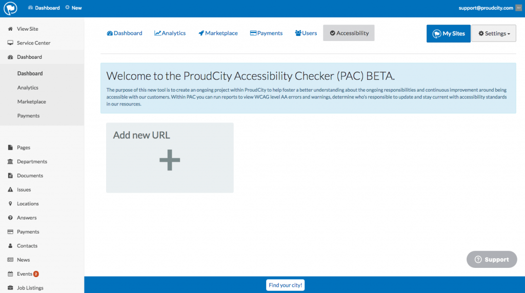 Click the 'Add new URL' box in the PAC Dashboard.