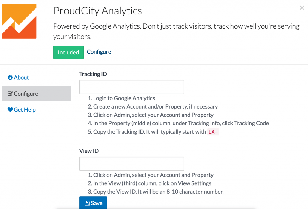 ProudCity Analytics set-up