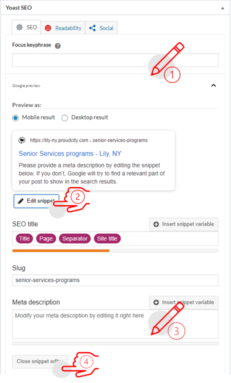 screen shot of a 4 step guide to fill out yoast seo