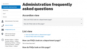 Frequently asked quetioned displayed on a web page
