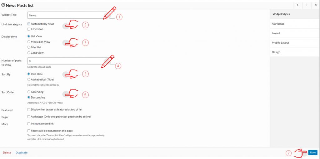 steps for news list widget
