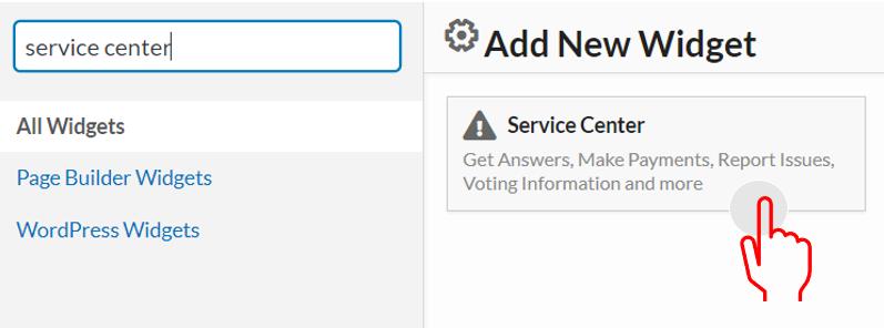 service center widget