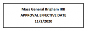 Mass General IRB Approval Effective Date 11/2/2020