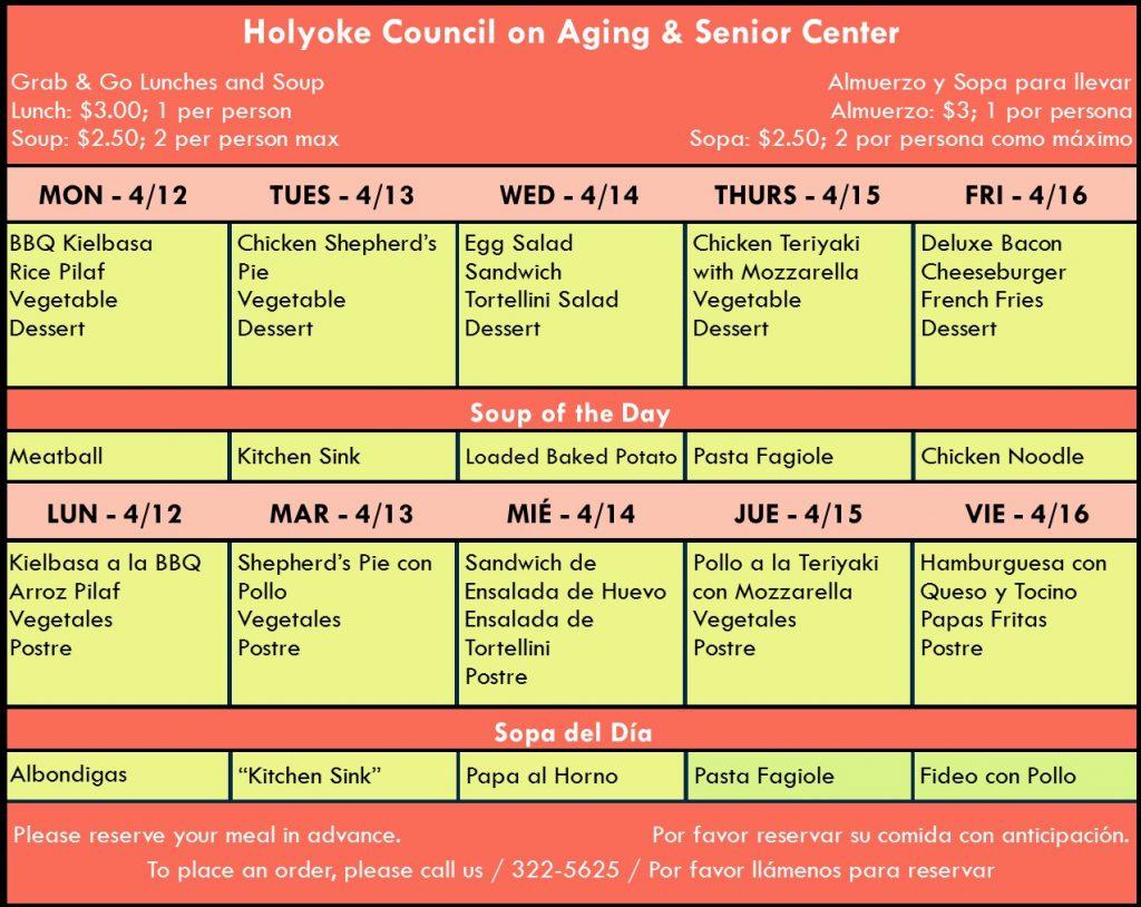 Senior Center Menu for the Week 04.12.21