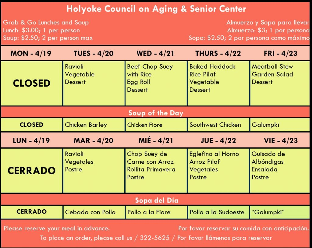 Senior Center Menu for the Week 04.19.21