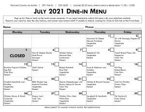 Senior Center Menu for July in English