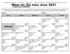 Senior Center Menu para Julio en Espanol