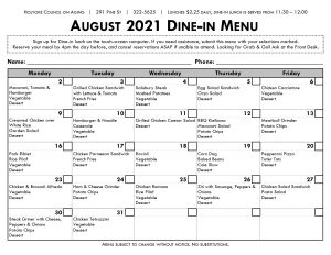 Dine-in Menu for August