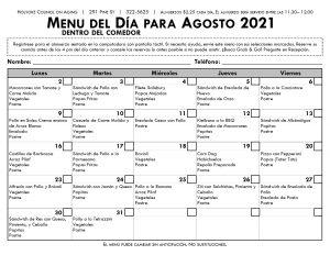 Menu del Dia para Augosto en espanol